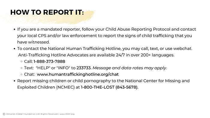 Human Trafficking How to Report It