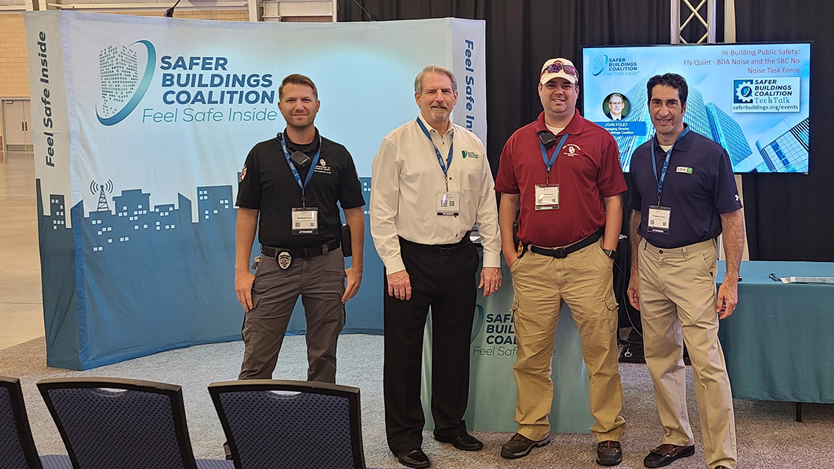 SBC exhibiting & connecting @ Wireless Oklahoma. L-R Nathan Fisher – OU; John Foley – SBC; Justin Daniels – OU Fire Marshal and President of the CCFS; Greg Najjar - SBA