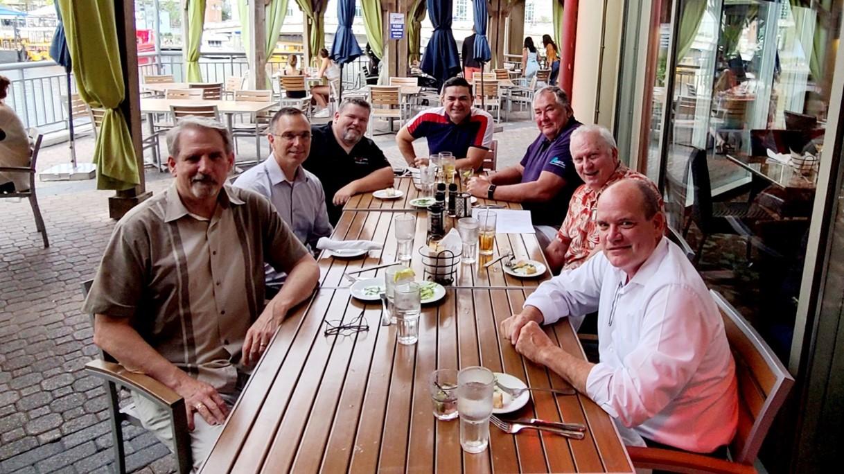 SBC hosts our sponsors at a kick-off dinner in Tampa. L-R John Foley – SBC; Chip Hollis – NICET; Joe Rohlic – Radio One; Hugo Sulbaran – Comba; Charlie Schulz – Alliance; David Adams – PCTEL; and Chief Alan Perdue - SBC